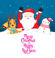 Santa Claus Snowman And Reindeer On Snowdrift vector image