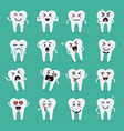 tooth character emoji set vector image