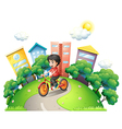 A boy biking at the road going to the high vector image vector image