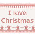 i love christmas knitted pattern vector image vector image