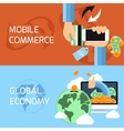 Concept for mobile commerce and global economy vector image