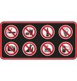 prohibited signs sticker vector image vector image