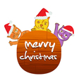 christmas cat with wooden message board vector image vector image