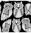 Decorative Hand dravn Cute Owl Sketch Doodle white vector image