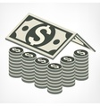 Money house in grey vector image vector image