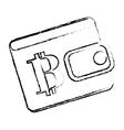 Bitcoin icon bag to save money vector image