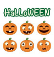cute set with halloween pumpkins smiling vector image