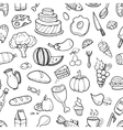 Doodle food ingredients drinks and vegetables vector image