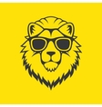 Hipster Style Lion Head Logo in Glasses vector image