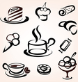 caffe bakery and other sweet pastry icons set vector image vector image