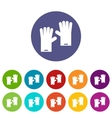 Rubber gloves set icons vector image