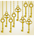 old golden keys dangling chain links vector image