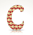 The letter C of the alphabet made of cherry vector image