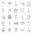 fruit juice icons set outline style vector image