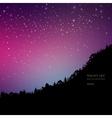 Pine trees on mountain sky night vector image