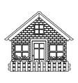 silhouette comfortable facade house with garden vector image