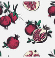 seamless pattern with pomegranates fruits on vector image