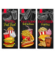 menu price banners for fast food meals vector image