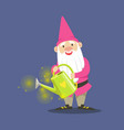 cute dwarf gardener in pink clothes standing and vector image