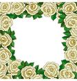 Frame of white roses isolated on white background vector image