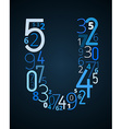 Letter U font from numbers vector image