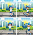 Four children with helmet and bike on the street vector image vector image