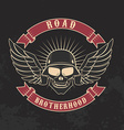 Road brotherhood Skull in motorcycle helmet and vector image
