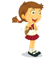 Girl going to school vector image