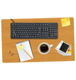 Keyboard smart phone and office supplies vector image