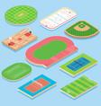 Sport field flat isometric icon set vector image