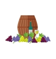 Wooden Barrel with Wine Different Grapes Sorts vector image
