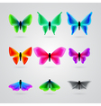 set of different color butterfly vector image vector image