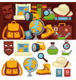 tourists set of necessary things and clothes for vector image