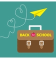 Schoolbag briefcase and yellow paperplane dash vector image