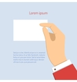 business man holding horizontal visit card vector image