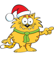 Cartoon Cat Santa vector image