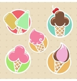 Colorful ice cream stickers collection vector image