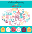 flat linear online mobile payment concept vector image