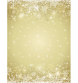 Golden background with frame of snowflakes vector image
