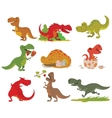 T-rex dinosaur set vector image