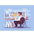 Stock trader sits in armchair vector image