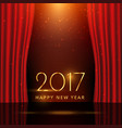 golden 2017 new year wish on stage with curtains vector image vector image