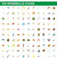 100 windmills icons set cartoon style vector image
