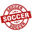 soccer round red grunge stamp vector image
