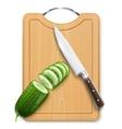 ripe cucumber cut segment on vector image