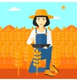 Farmer with tablet computer on field vector image
