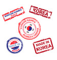 made in korea stamps set grunge sticker with vector image