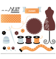 Sewing set items isolated on white vector image