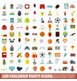 100 children party icons set flat style vector image