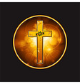 Festive Cross with flourish and stars in a golden vector image